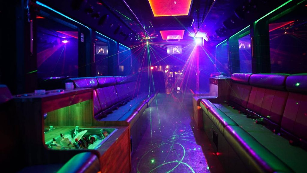 inside the Cosmo party bus