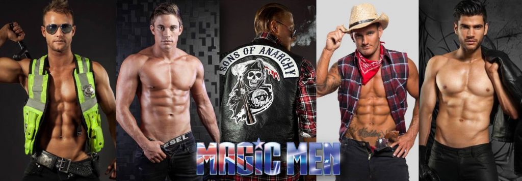 Magic Men male strippers in different costumes