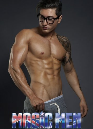Topless waiter Ben with glasses