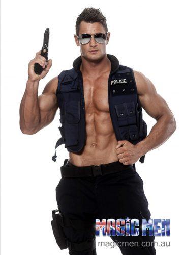 Blake in police costume