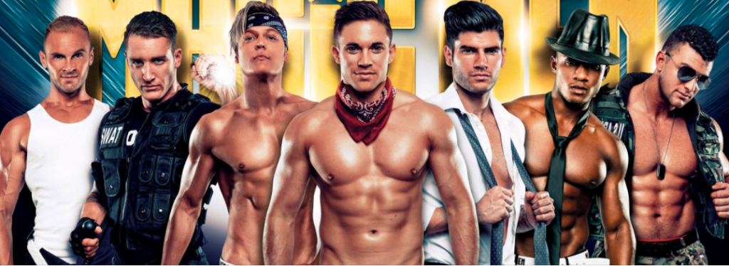 male strippers lined up in a row wearing costumes